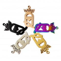 20pcs stainless letter charms-Q wtih crown