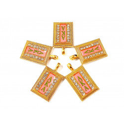 10pcs AKA charms gold bottom lt red surface#01