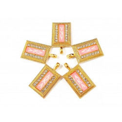 10pcs AKA charms gold bottom pink surface letter in white#03