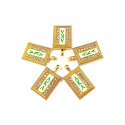 10pcs AKA charms gold bottom white surface letter in green#05