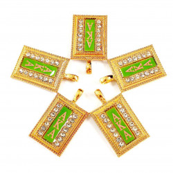 10pcs AKA charms gold bottom green surface letter in pink#07