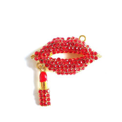 1pc alloy mouth charm lips charm with lipstick gold bottom#060725