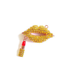 1pc alloy mouth charm lips charm with lipstick rose gold bottom#060729