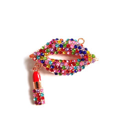 1pc alloy mouth charm lips charm with lipstick rose gold bottom #060736
