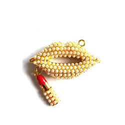 1pc alloy mouth charm lips charm with lipstick gold bottom#060739