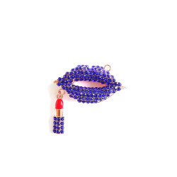 1pc alloy mouth charm lips charm with lipstick rose gold bottom #060741