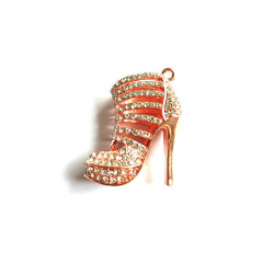 1PC  High heel charms rose gold bottom with rhinestones #052733