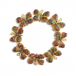 10PCS  Butterfly charms gold bottom with mixed color rhinestones#052701