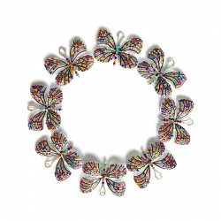 10PCS  Butterfly charms silver bottom with mixed color rhinestones#052703