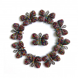 10PCS  Butterfly charms black bottom with mixed color rhinestones#052704
