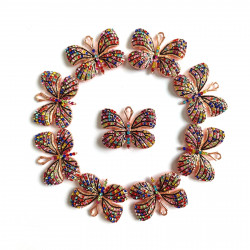 10PCS  Butterfly charms rose gold bottom with mixed color rhinestones#052702