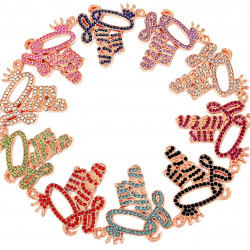 10pcs letter charms-queen-rose gold #052502