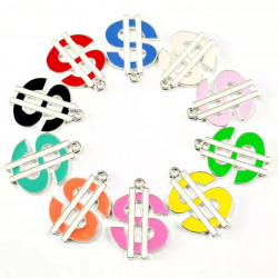 10pcs Money Charms, colorful dollar charms, silver plated