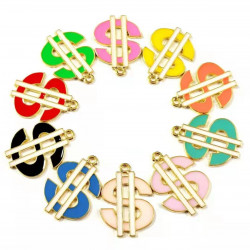 10pcs Money Charms, colorful dollar charms, gold plated