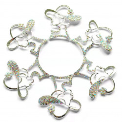10pcs lady with hat charms girl charms silver bottom ab rhinestones