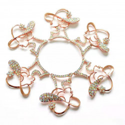 10pcs lady with hat charms girl charms rose gold bottom ab rhinestones