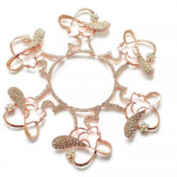 10pcs lady with hat charms girl charms rose gold bottom clear rhinestones