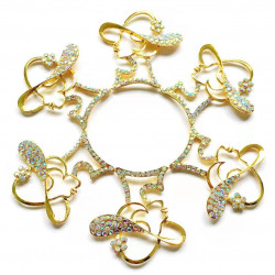 10pcs lady with hat charms girl charms gold bottom ab rhinestones
