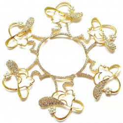 10pcs lady with hat charms girl charms gold bottom clear rhinestones