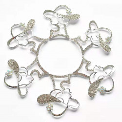10pcs lady with hat charms girl charms silver bottom clear rhinestones