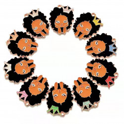 10pcs girl head charms  with crown rose gold