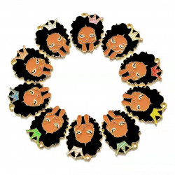 10pcs girl head charms  with crown gold
