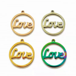 20pcs stainless steel charms-love with circle