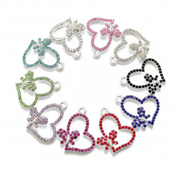 050901# 10PCS HEART CHARMS with butterflies silver