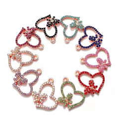 050903# 10PCS HEART CHARMS with butterflies rose gold
