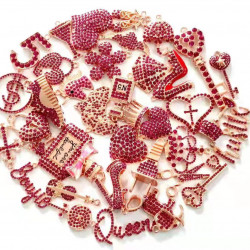 C051801# 35pcs charming charms rhinestone charms for jewelry making rose gold plated