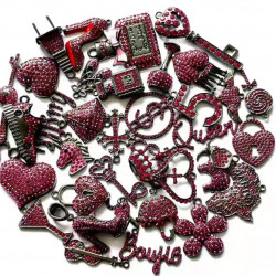 C051802# 35pcs charming charms rhinestone charms for jewelry making,black plated
