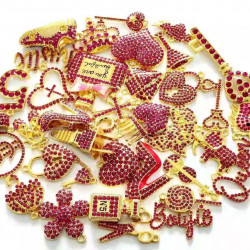 C051803# 35pcs charming charms rhinestone charms for jewelry making,gold plated