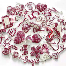 C051804# 35pcs charming charms rhinestone charms for jewelry making,silver plated