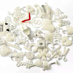 35pcs charming charm set, charms  with pearls, silver bottom