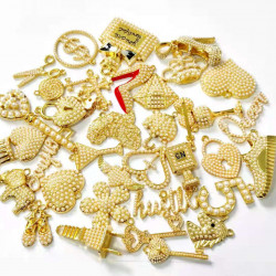 35pcs charming charm set, charms  with pearls, gold bottom