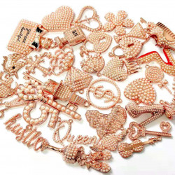 35pcs charming charm set, charms  with pearls, rose gold bottom