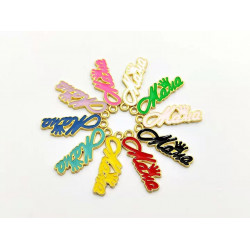 #10pcs letter charms-mama with crown gold