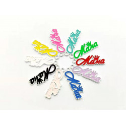 #10pcs letter charms-mama with crown silver