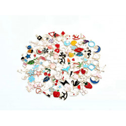 HK420# 100pcs charm set mixed charms  cute charms flowers, animals, fruits, etc.