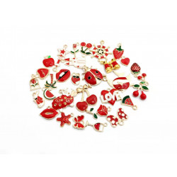m476# 31pcs charm set mixed charms  cute charms red theme