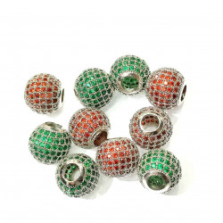 15-1# 10PCS CZ BEAD SPACERs round red& green