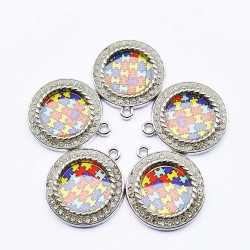 10cs letter charms 2202 round round charms