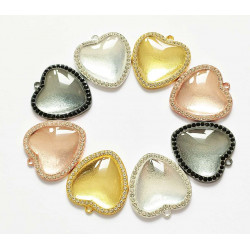 50pcs heart tray charms with dome 25 mm 1427