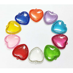 50pcs heart tray charms with dome 25 mm 1430
