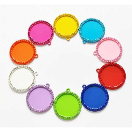 50pcs round tray  charms 25mm 1432
