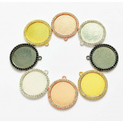 50pcs round tray  charms 25mm 1433