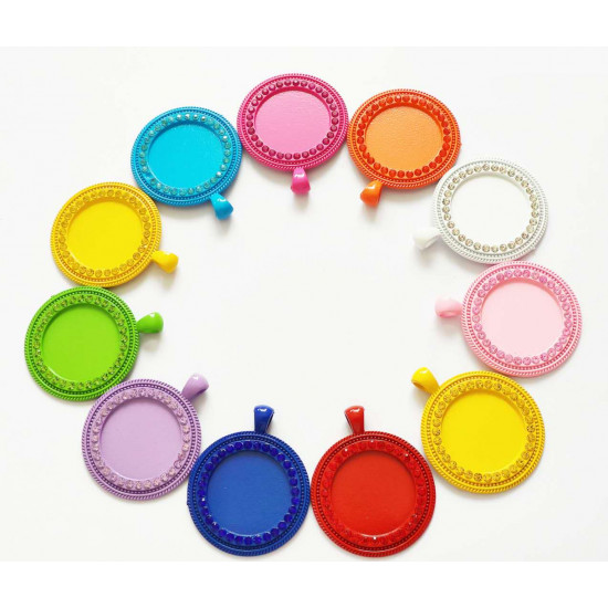 50pcs round tray  charms 25mm 1435