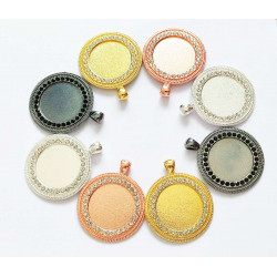 50pcs round tray  charms 25mm 1436