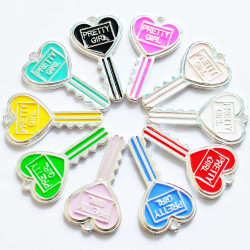 10PCS heart shape KEY CHARMS silver 2275