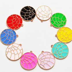 10pcs mixed & colorful round charms 1393